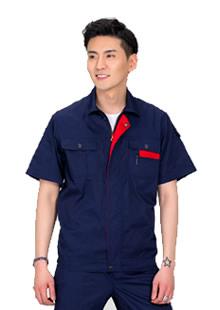 藏蓝红领款夏季工装定制