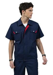藏蓝枣红领夏季工作服工衣